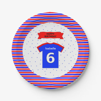 Custom name 6th birthday party red blue paper plate
