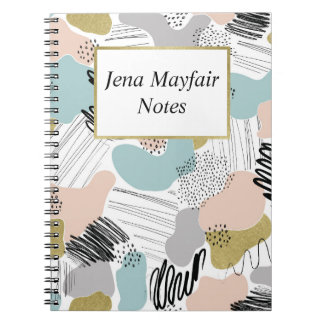 Custom Name Abstract Pastel Notebook