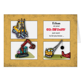Custom Name, Age, Birthday Diggers, Trucks Card