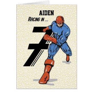 Custom Name, Aiden, 7th Birthday Superhero Card
