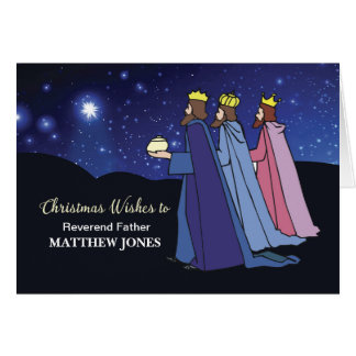 Custom Name and Title, Christmas Wishes 3 Kings Card