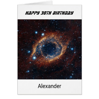 Custom name any age birthday nebula card