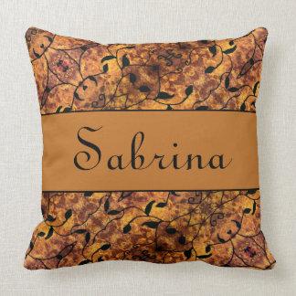 Custom Name Autumn Pattern Throw Pillow
