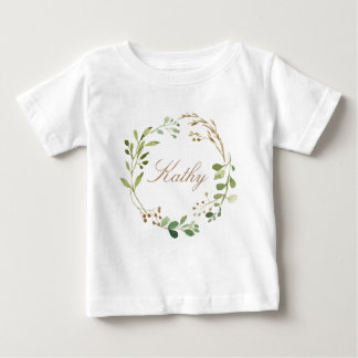 Custom Name Baby Girl Watercolor Floral Wreath-01 Baby T-Shirt