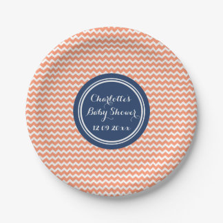 Custom Name Baby Shower Plates Coral Blue Chevron