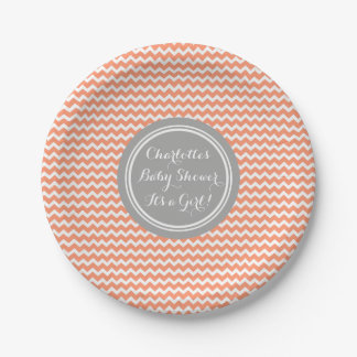 Custom Name Baby Shower Plates Coral Grey Chevron