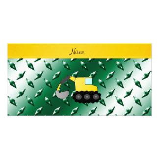 Custom name backhoe green diamond steel plate custom photo card