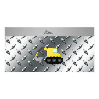Custom name backhoe silver diamond steel plate customized photo card