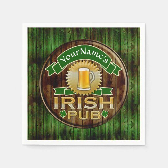 Custom Name Bar Irish Pub Sign St Patricks Day Paper Napkin