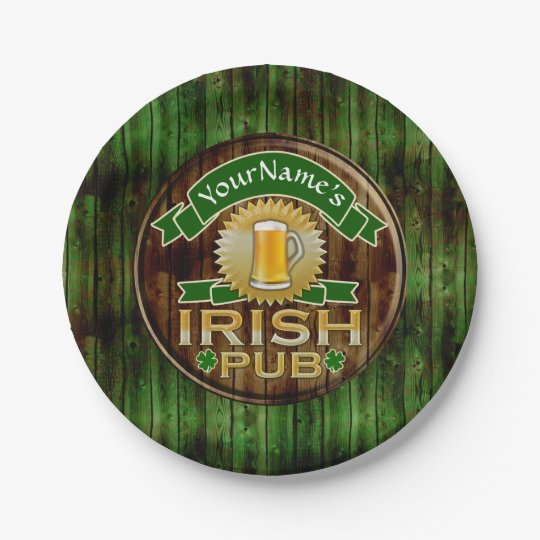 Custom Name Bar Irish Pub Sign St Patricks Day Paper Plate
