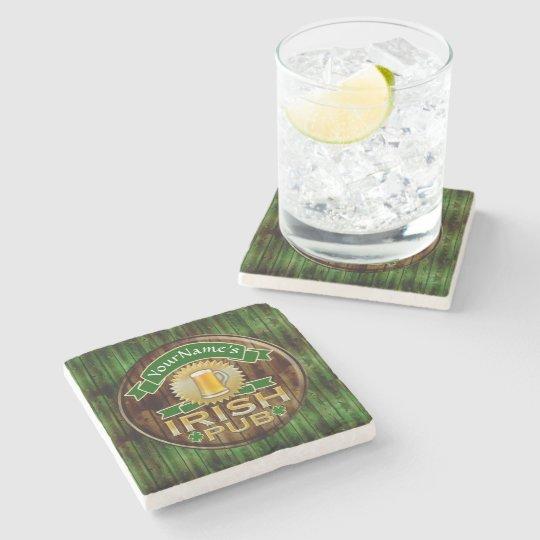 Custom Name Bar Irish Pub Sign St Patricks Day Stone Coaster