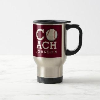 Custom Name Baseball Coach Burgundy Travel Mug