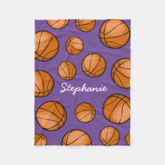 Custom Name Basketball Purple Fleece Blanket