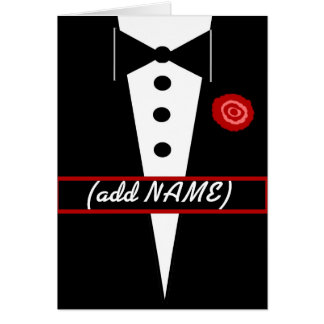 CUSTOM NAME Be My Groomsman Card with Tux and Rose