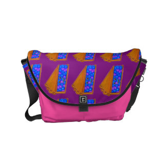 Custom Name Berry Cool Purple & Pink Pie Print Bag Commuter Bag