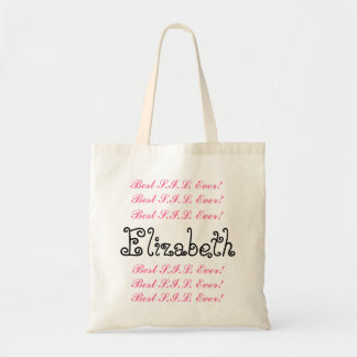 Custom Name Best Sister in  Ever Pink Black Script Tote Bag