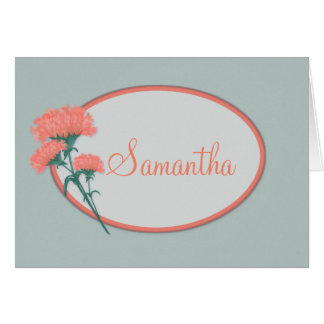 Custom Name Birthday Card, Pink Carnations Card