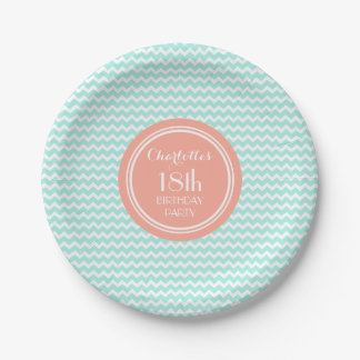 Custom Name Birthday Plates Aqua Coral Chevron