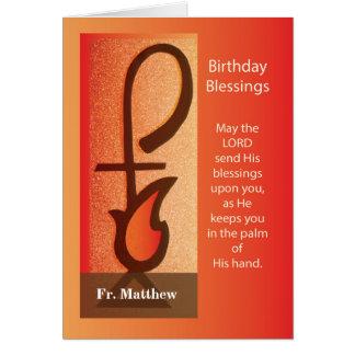 Custom Name Birthday, Shepherd Staff and Flame Card