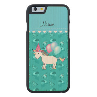 Custom name birthday unicorn turquoise party hats carved maple iPhone 6 case
