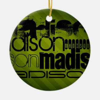 Custom Name, Black and Olive Green Round Ceramic Ornament
