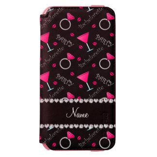 Custom name black bachelorette cocktails rings incipio watson™ iPhone 6 wallet case