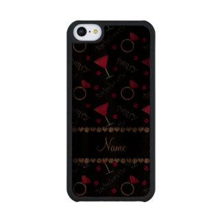 Custom name black bachelorette cocktails rings walnut iPhone 5C case