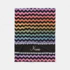 Custom name black bright rainbow glitter chevrons fleece blanket