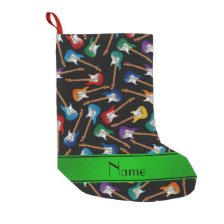Custom name black colorful electric guitars small christmas stocking