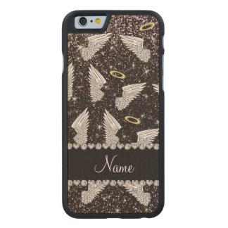Custom name black glitter angel wings carved® maple iPhone 6 slim case