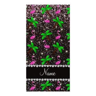 Custom name black glitter flamingos palm trees photo card