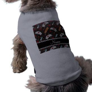 Custom name black glitter nurse hats heart pet tee shirt