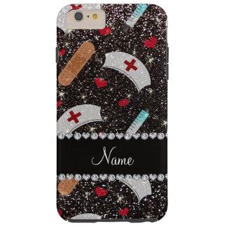 Custom name black glitter nurse hats heart tough iPhone 6 plus case
