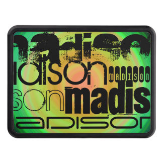 Custom Name; Black, Green & Peach Radial Design Trailer Hitch Cover