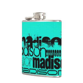 Custom Name; Black &  Neon Aqua Turquoise Hip Flask