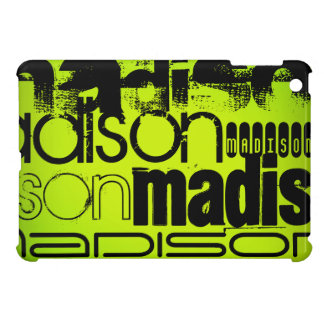 Custom Name; Black & Neon Chartreuse Yellow Green Cover For The iPad Mini