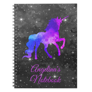 Custom Name Black/Purple Galaxy Unicorn Notebook