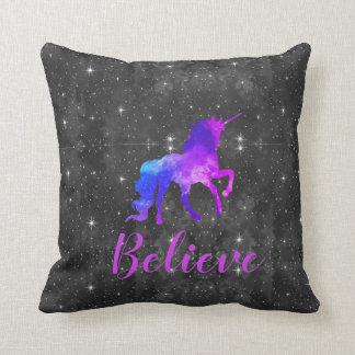 Custom Name Black/Purple Galaxy Unicorn Pillow