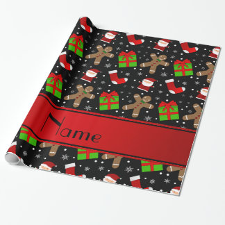Custom name black santas gingerbread wrapping paper