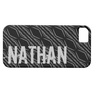 Custom Name Black Silver Geometric For Him G607 iPhone 5 Covers