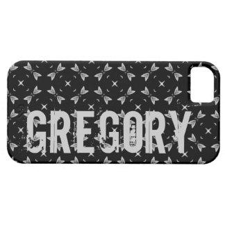 Custom Name Black Silver Geometric For Him G614 iPhone 5 Cover
