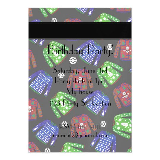 Custom name black ugly christmas sweater pattern magnetic invitations