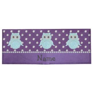 Custom name bling owl diamonds purple diamonds tyvek wallet