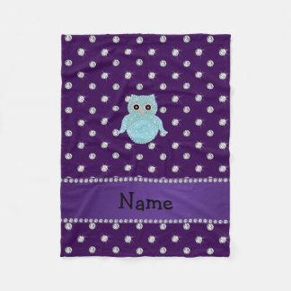 Custom name bling owl diamonds purple diamonds fleece blanket