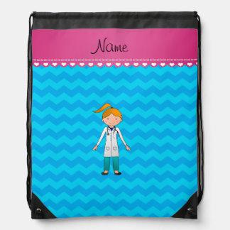 Custom name blonde girl doctor sky blue chevrons drawstring bag