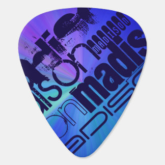 Custom Name; Blue & Abstract Purple, Green, Blue Guitar Pick