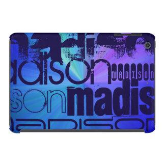 Custom Name; Blue & Abstract Purple, Green, Blue iPad Mini Cover