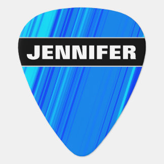 Custom Name + Blue and Cyan Lines Pattern Guitar Pick