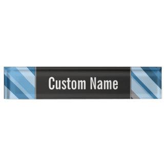 Custom Name + Blue and Grey Stripes Desk Nameplate
