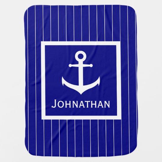 Custom Name Blue and White Anchor Baby Blanket
